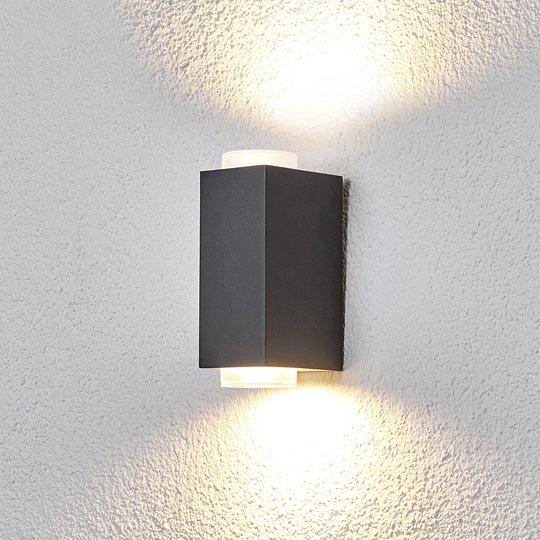 Tummanharmaa ulkoseinävalaisin Jovan, 2-lamppuinen