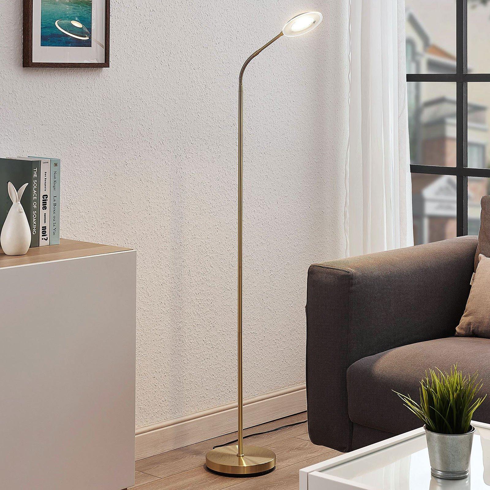LED-leselampe Meghan, justerbar, messing