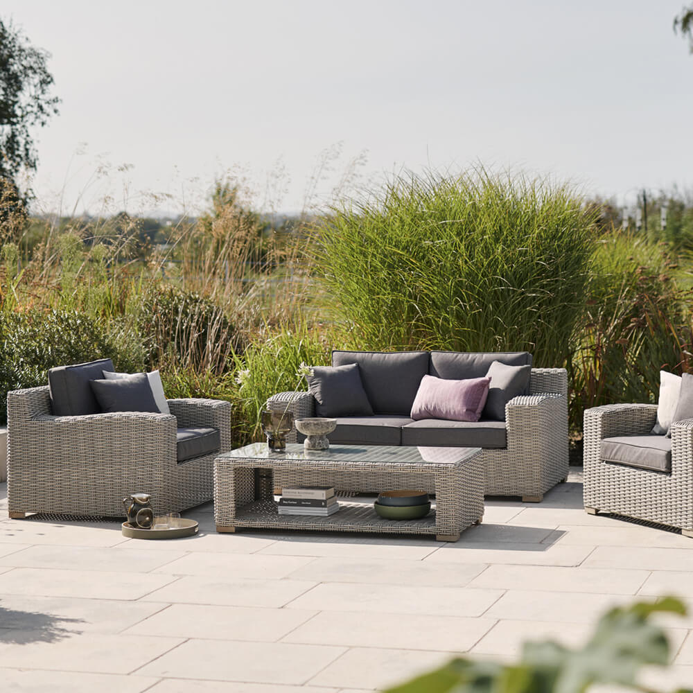2021 Kettler Palma Luxe 2 Seater Sofa 2 Armchair Coffee Table Set - Whitewash