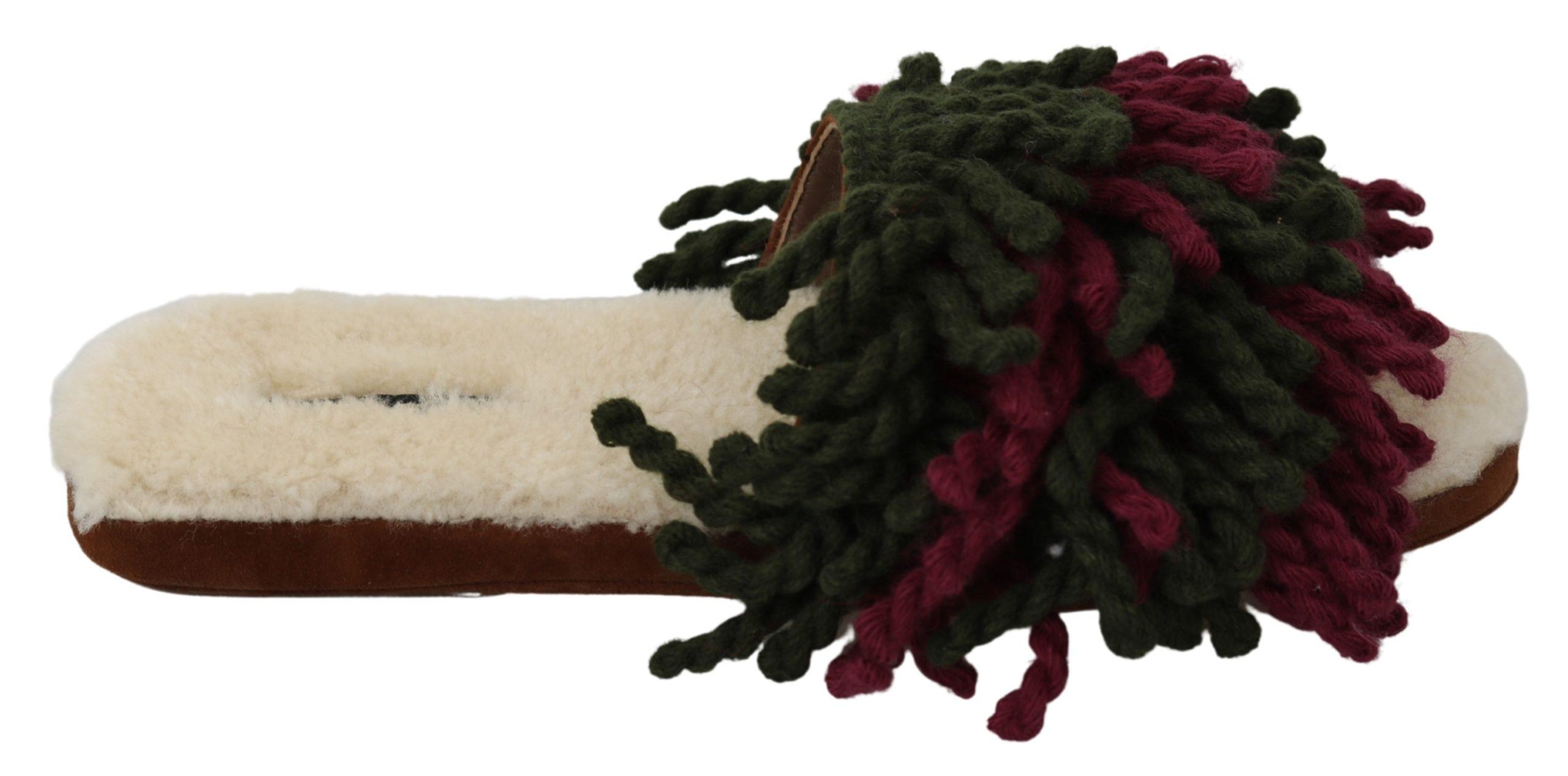 Dolce & Gabbana Women's Suede Shearling Slippers Multicolor LA6893 - EU39/US8.5