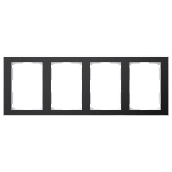 Elko EKO06346 Yhdistelmäkehys musta/alumiini, 1 ½ lokeroa 4 x 1½ lokeroa