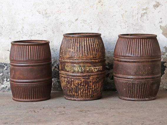 Vintage Metal Barrel - Small Black