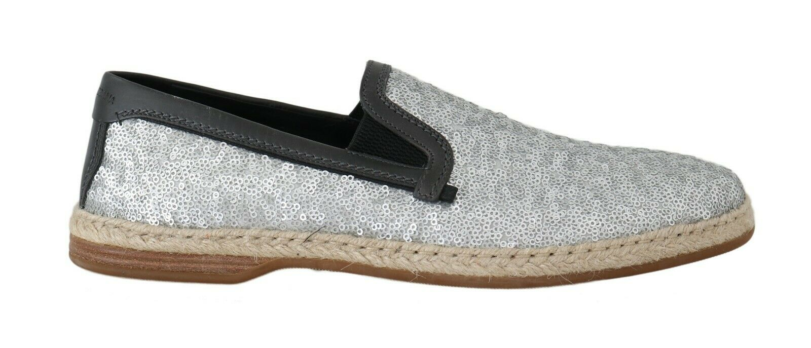 Dolce & Gabbana Men's Leather Sequined Loafers Silver MV2189 - EU39/US6