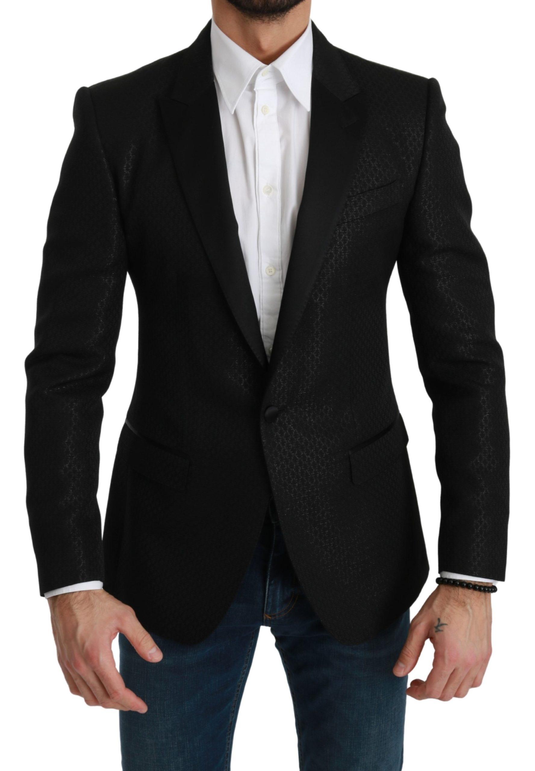 Dolce & Gabbana Men's Slim Fit Jacket MARTINI Blazer Black KOS1776 - IT46 | S