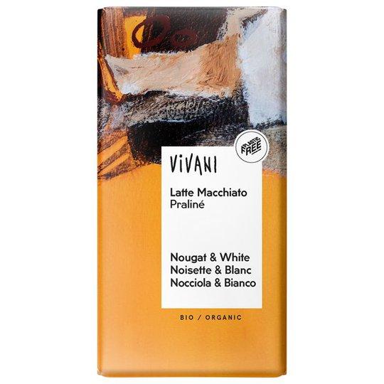 Vivani Ekologisk Mörk Nougat & Vit Choklad med Espressokrisp, 100 g