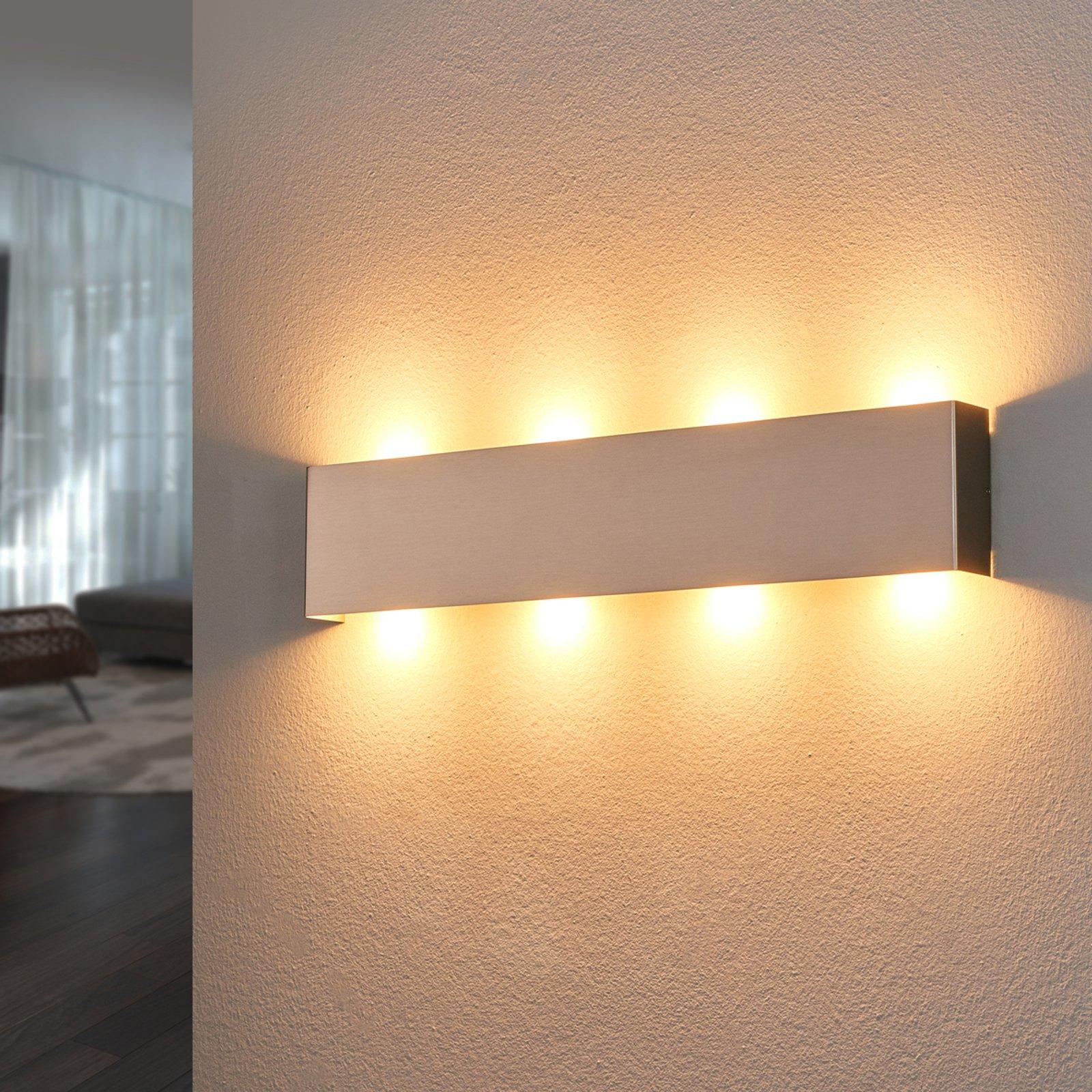 Nikkelfarget LED-vegglampe Maja, 54 cm