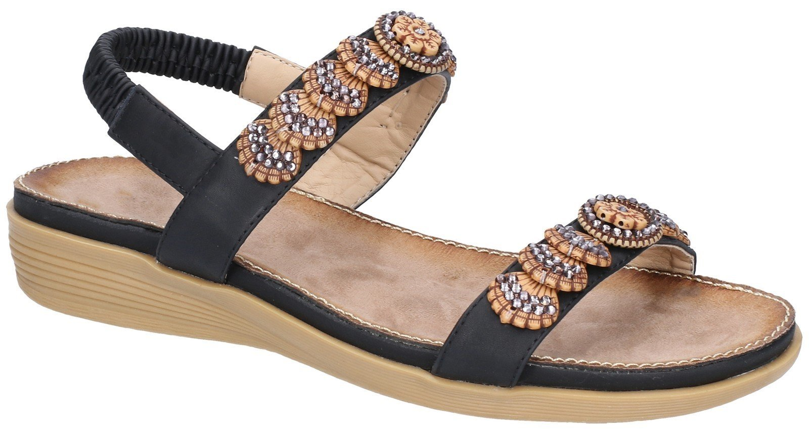 Fleet & Foster Women's Java Elasticated Sandal Various Colours 28280 - Black 3