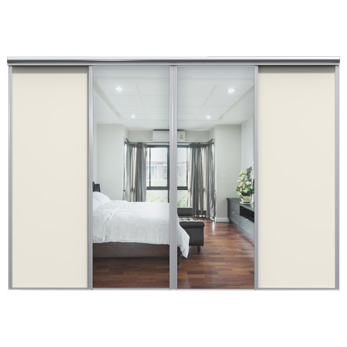 Mix Skyvedør Hvit / Sølvspeil 3100 mm 4 dører
