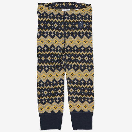 Merinoull bukse jaquardmønstret baby mørkblå