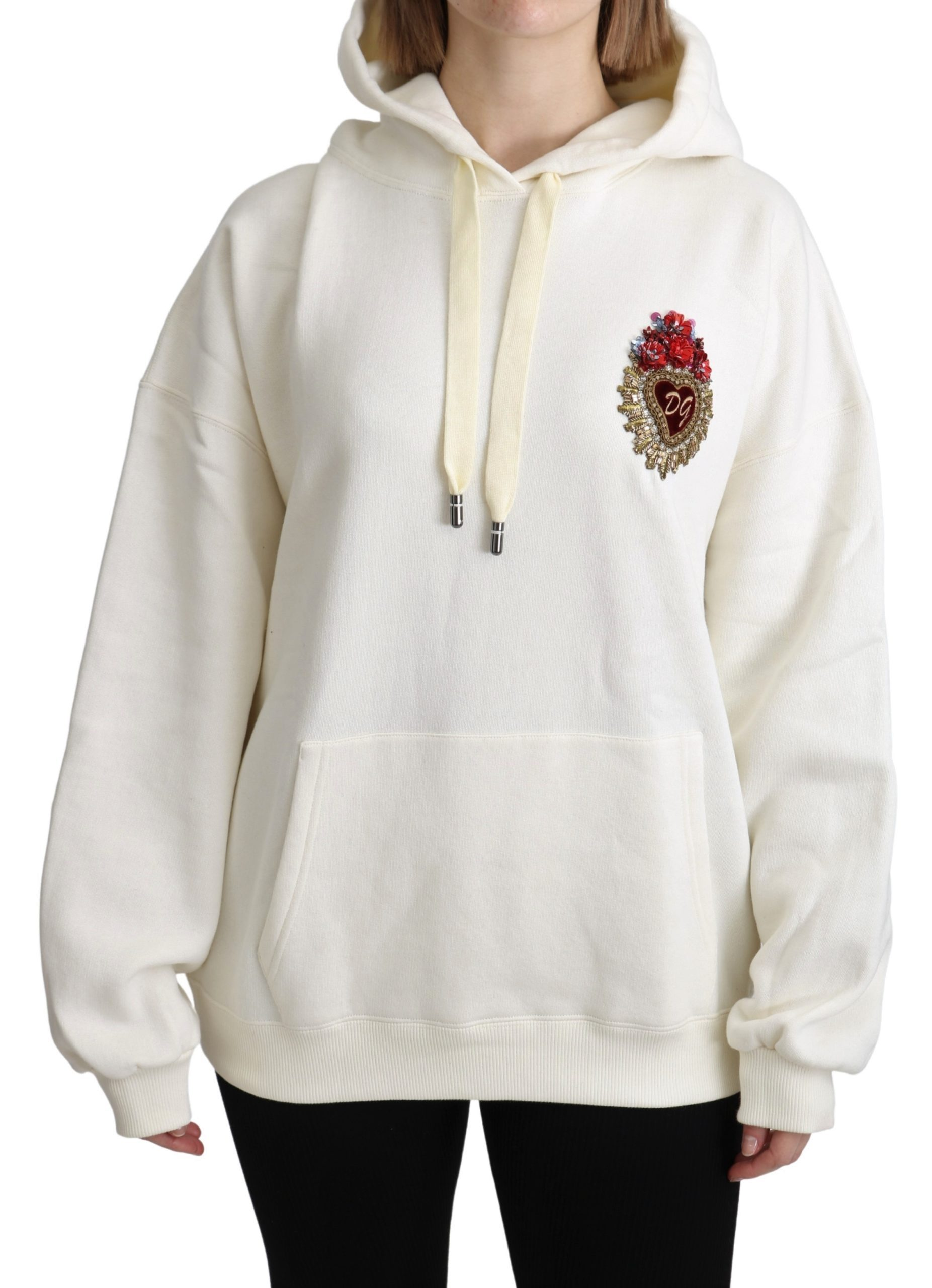 Dolce & Gabbana Women's Crystal Heart Hooded Pullover Sweater White TSH5155 - IT40|S