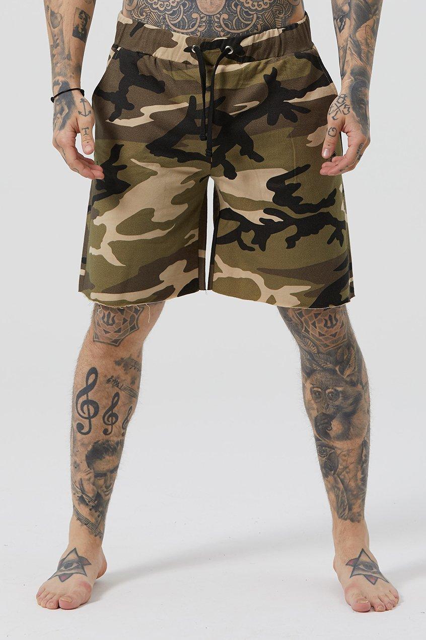Grind Cut Hem Wide Men's Shorts - Camouflauge, XX-Large