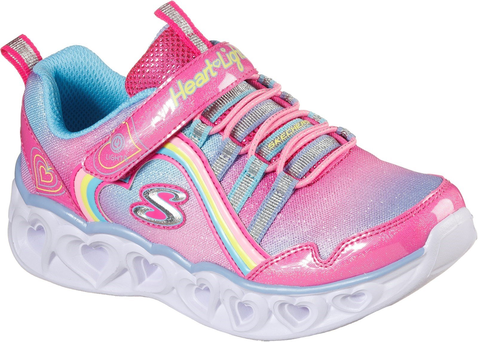 Skechers Kid's Heart Lights Rainbow Lux Trainer Various Colours 32089 - Pink/Multi 9.5