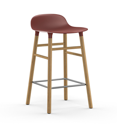 Form Barstol Rød/Eik 65 cm