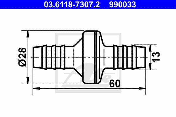 Venttiili, vakuumiletku ATE 03.6118-7307.2