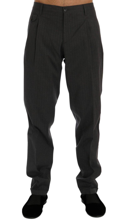 Dolce & Gabbana Men's Striped Cotton Dress Formal Trouser Gray PAN60345 - IT50 | L