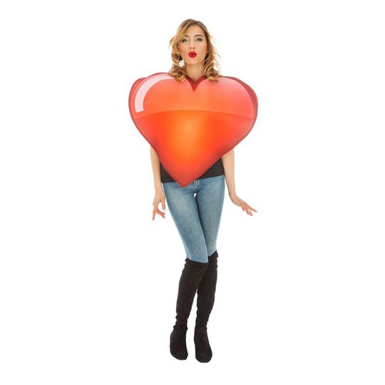 Emoji Hjärta Maskeraddräkt - One size