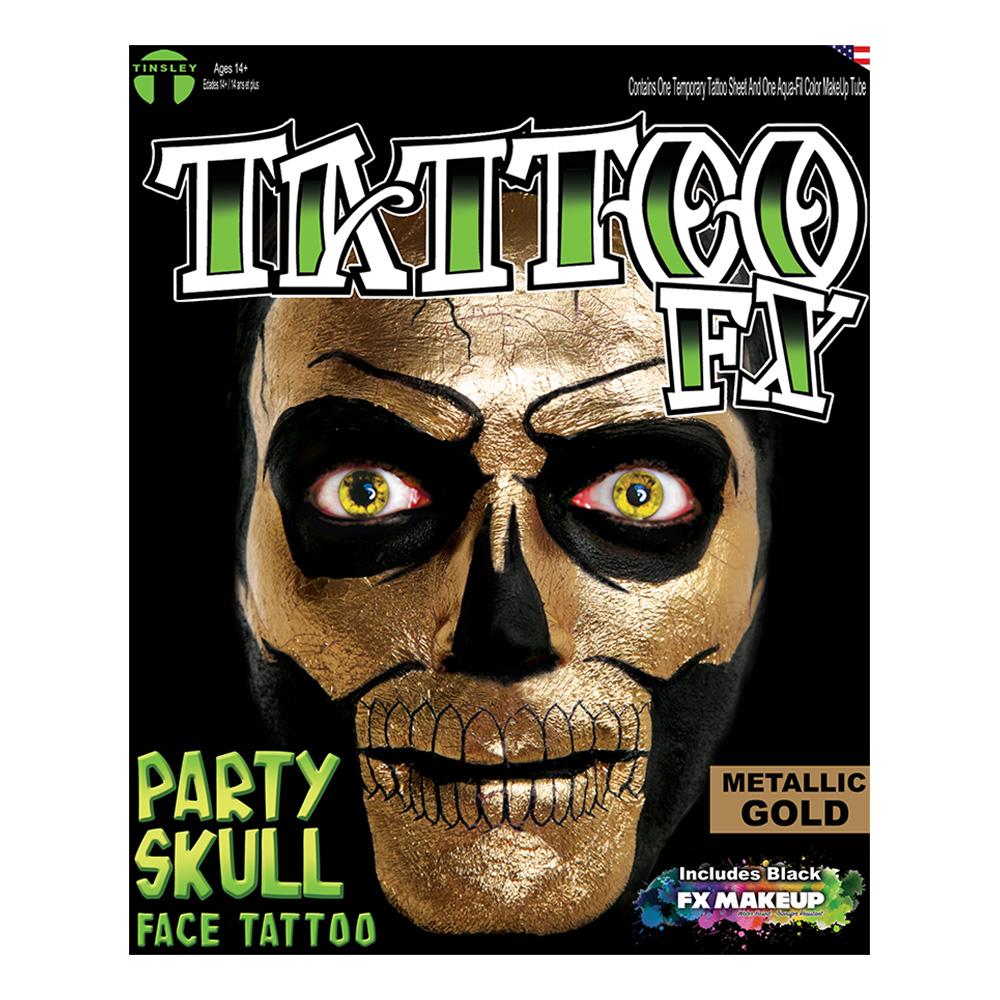 Tattoo FX Metallic Gold Party Skull