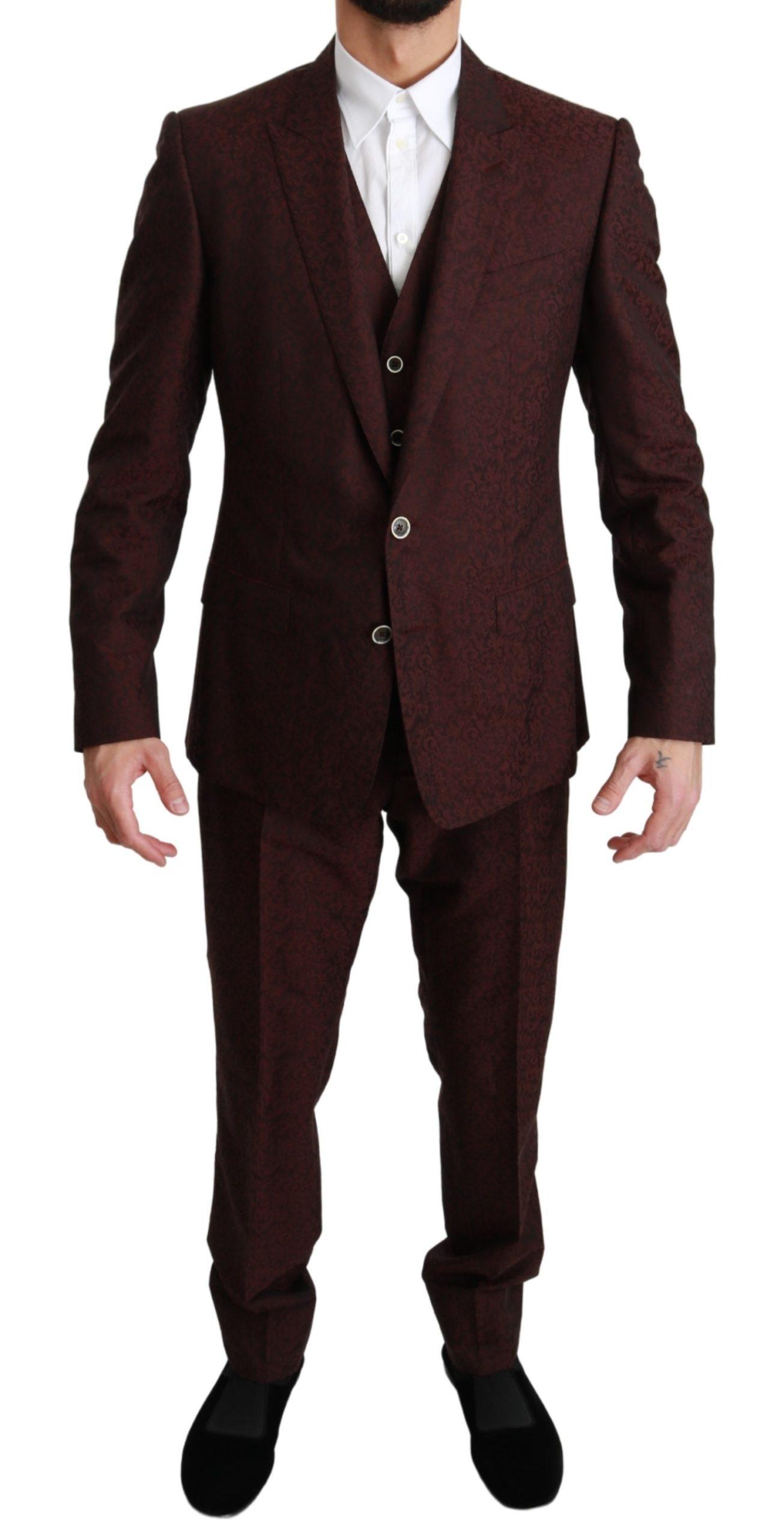 Dolce & Gabbana Men's Brocade 3 Piece Wool MARTINI Suit Bordeaux KOS1629 - IT50 | L