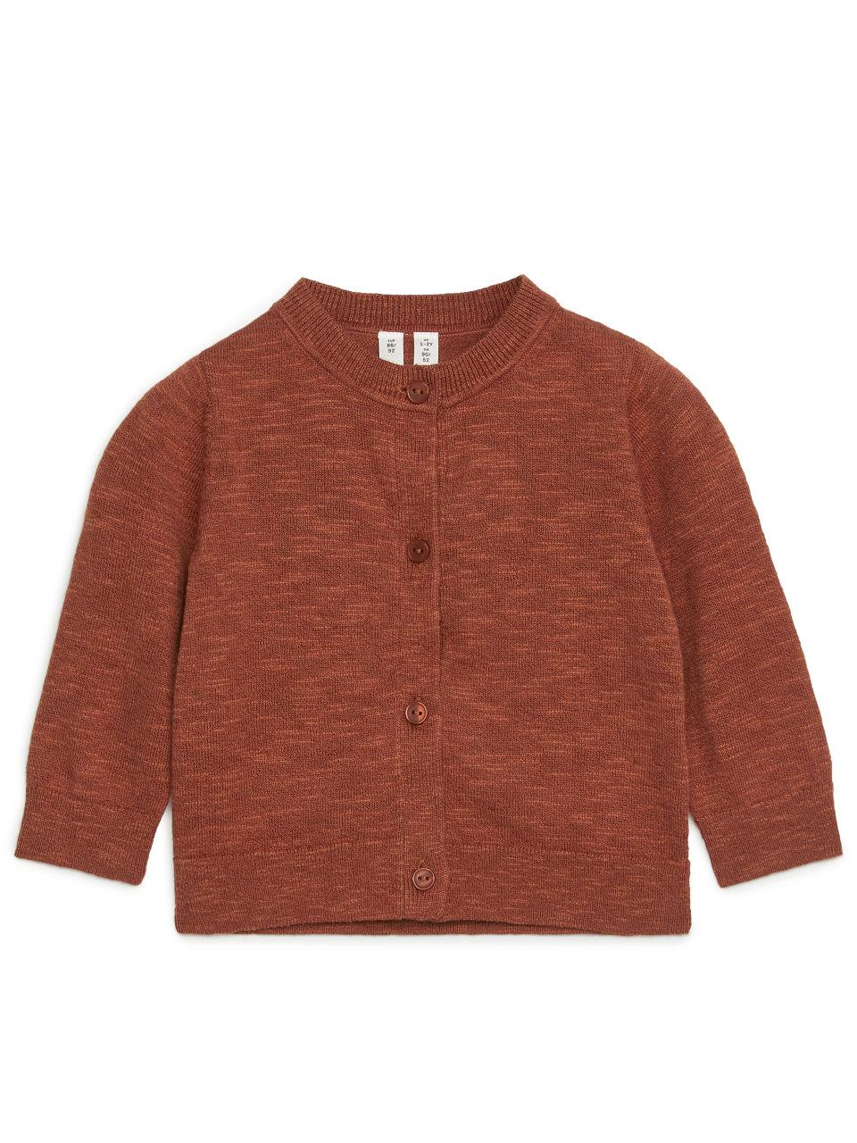Linen Blend Cardigan - Orange