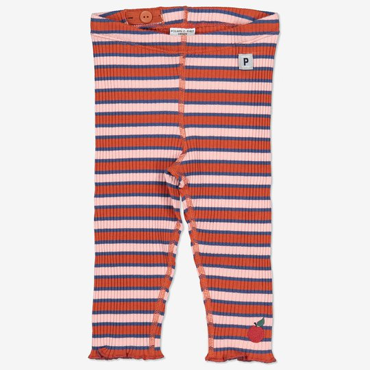 Stripet bukse med bølget kant baby rosa