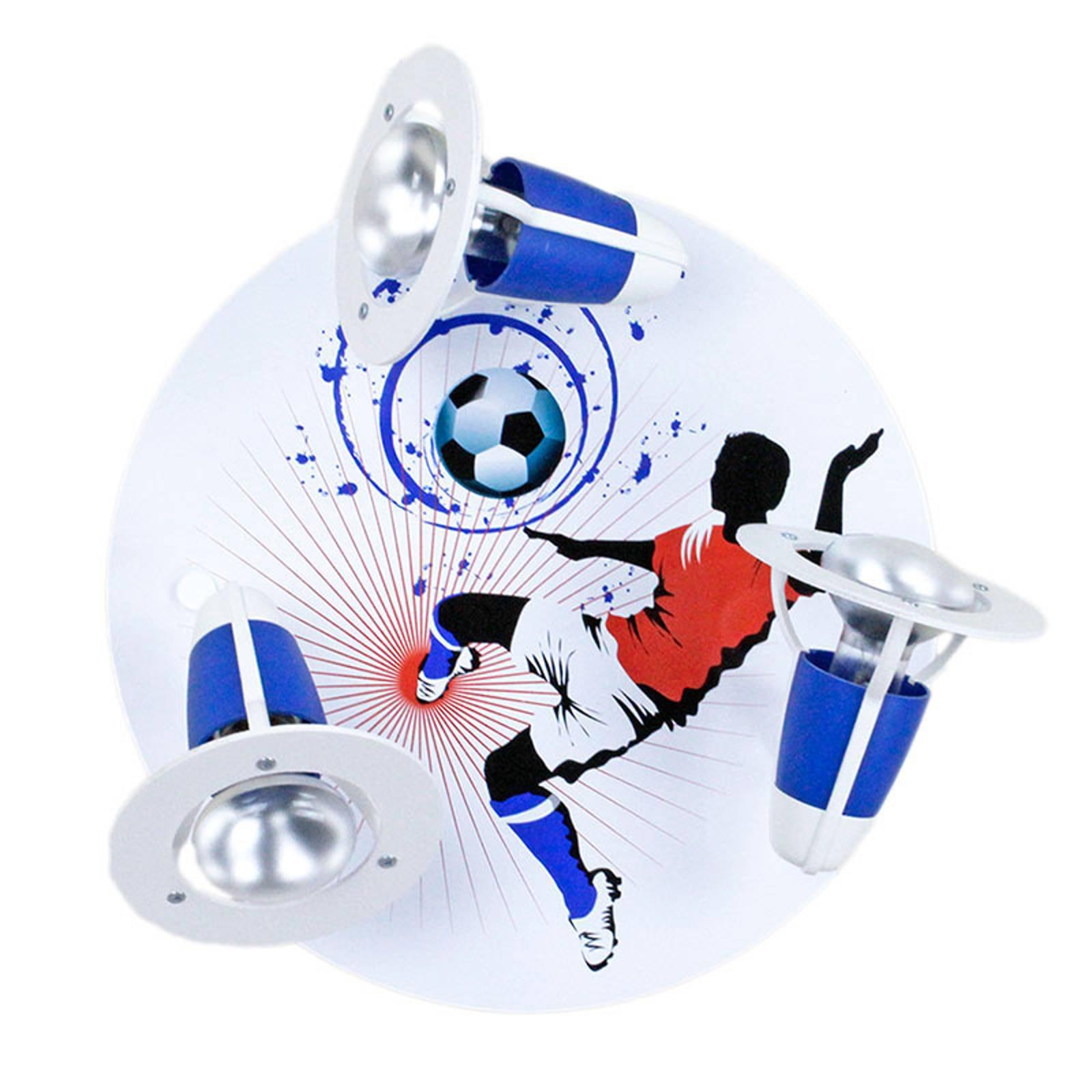 Taklampe Soccer, 3 lyskilder, blå og hvit
