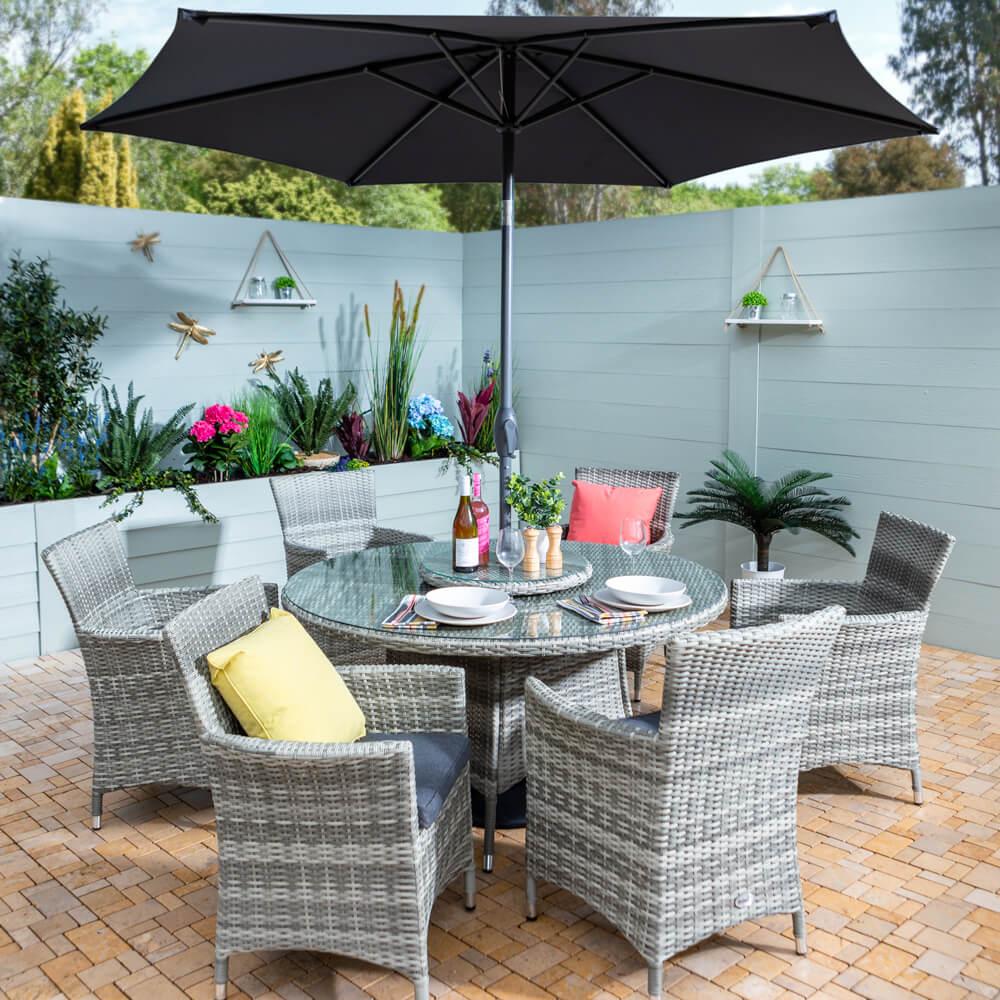 2021 Hartman Westbury 6-Seat Garden Dining Set - Ash/Slate