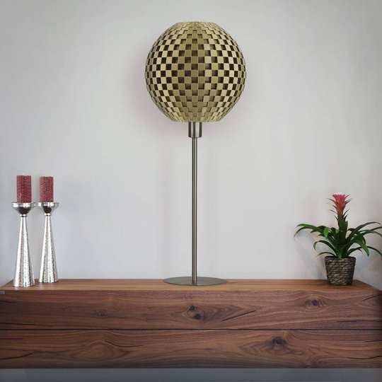Bordlampe Flechtwerk Kugel, gull