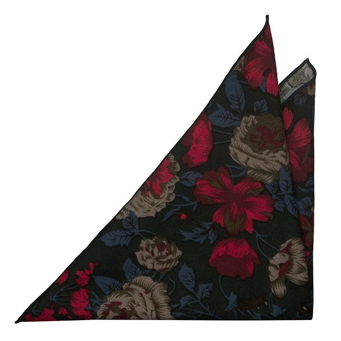 Bomull Lommetørkler, Grønn bakgrunn og kant med beige, rødblå blomster