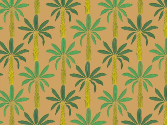 Tropical Wallpaper Sample: Gamboge Yellow-T1902GYS Yellow