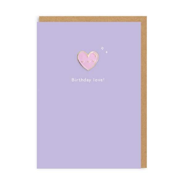 Birthday Love Enamel Pin Greeting Card