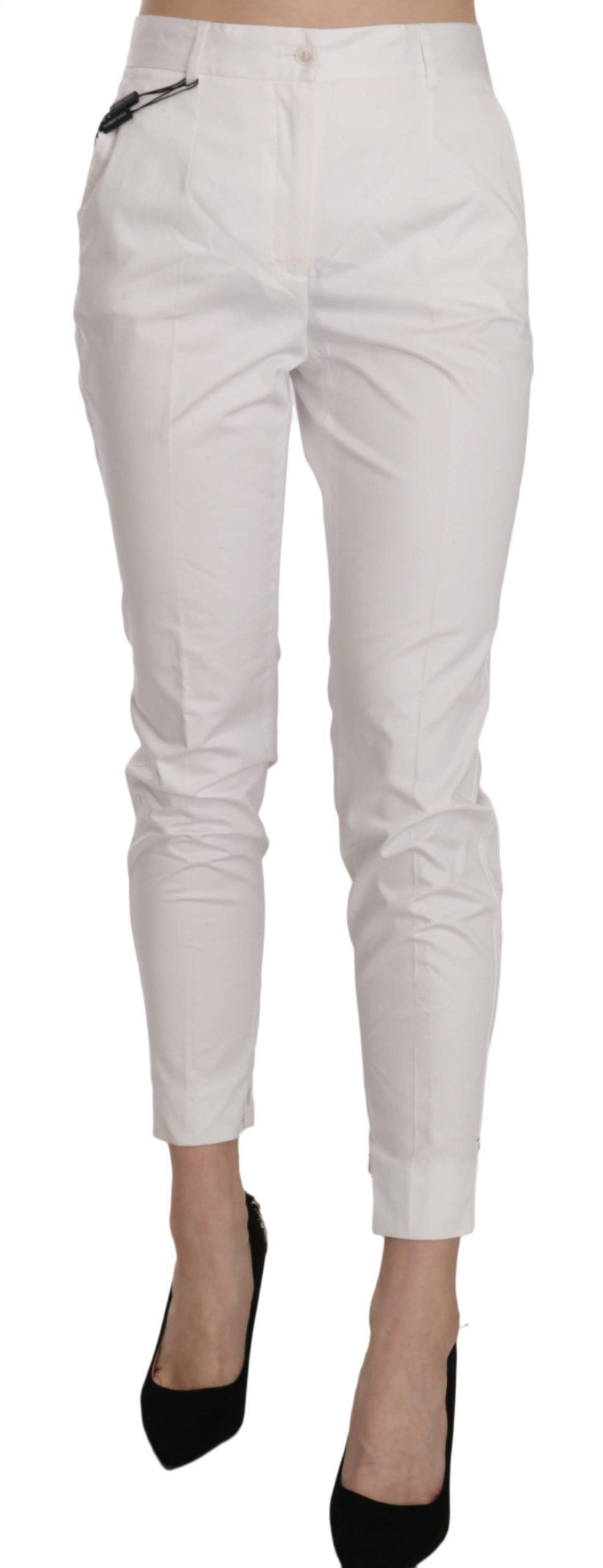 Dolce & Gabbana Women's High Waist Skinny Cropped Trouser White PAN70279 - IT42|M