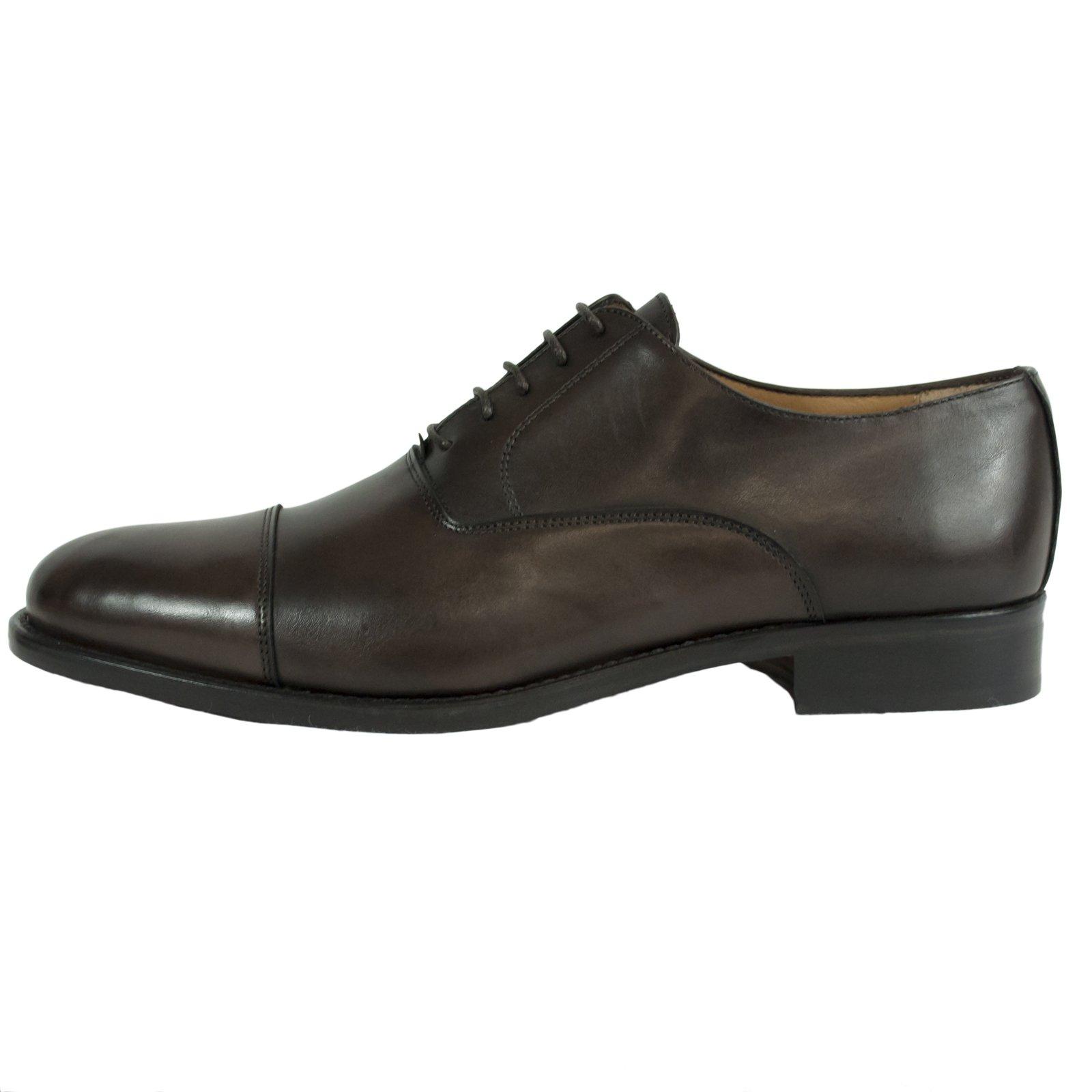 Saxone of Scotland Men's Leather Laced Oxford Shoe Brown 350_Dark_Brown_Calf - EU42/US9