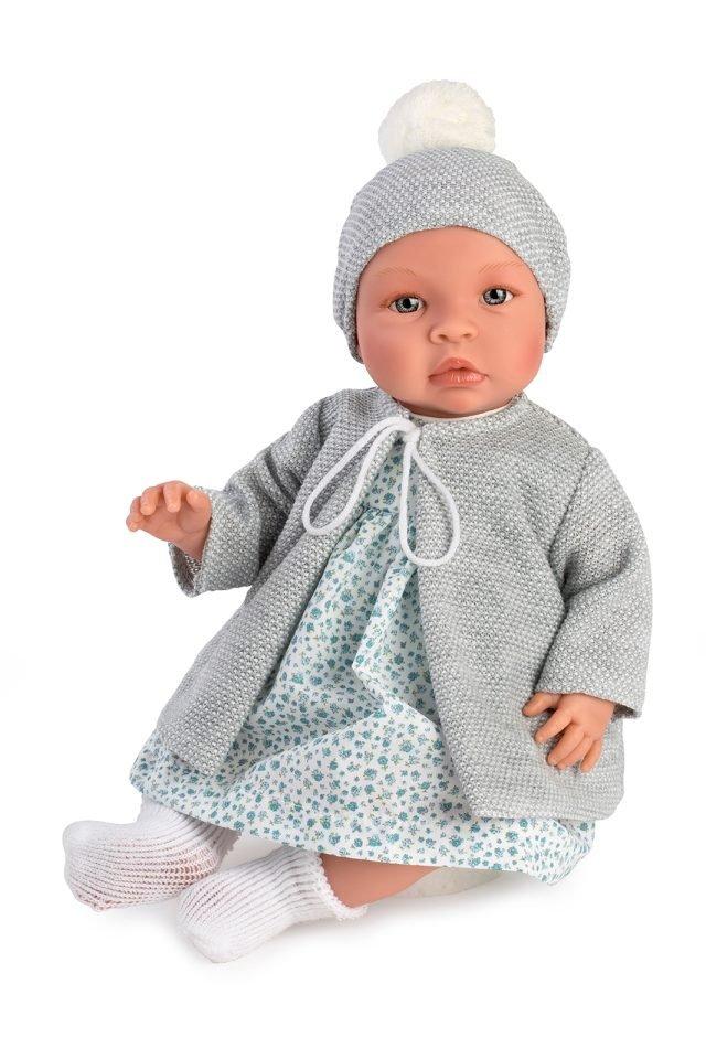 Asi dolls - Leonora babydoll in blue flowerprint dress and grey jacket