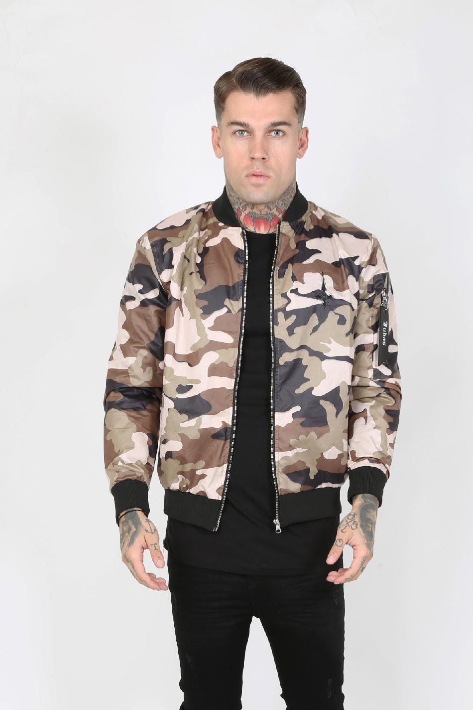 Raid Cam Nylon Men's Bomber Jacket - Camouflage, Medium