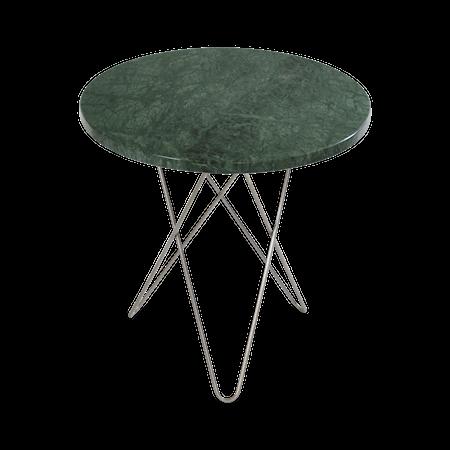 Tall Mini O Sidebord Grønn Marmor Rustfri Stålramme Ø50