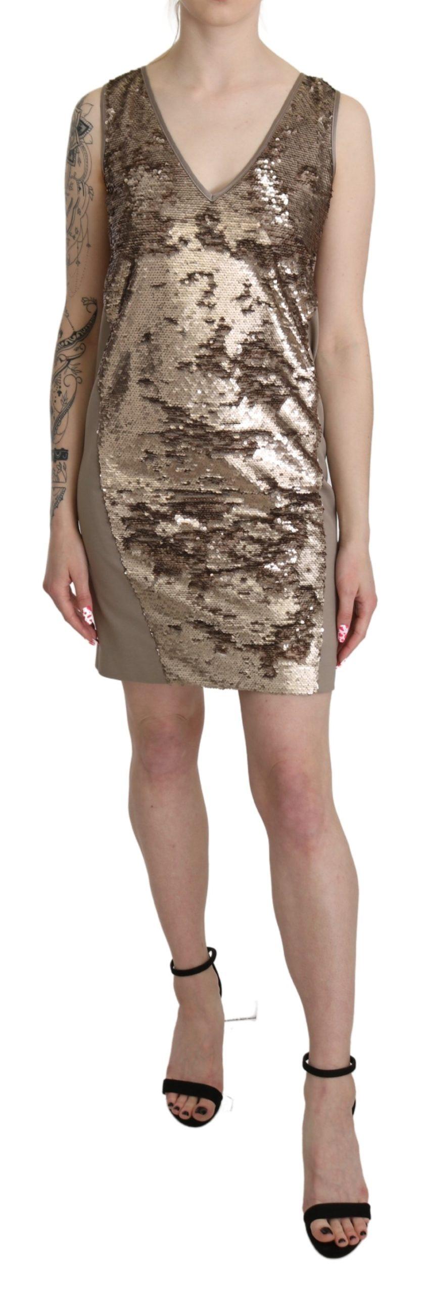 Liu Jo Women's Sequined V-neck Sleeveless Mini Dress Brown DR2615 - IT42|M