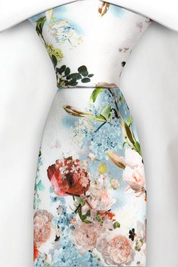 Silke Slips, Orange, røde og blekrosa blomster på hvitt, Hvit, Blomstrete