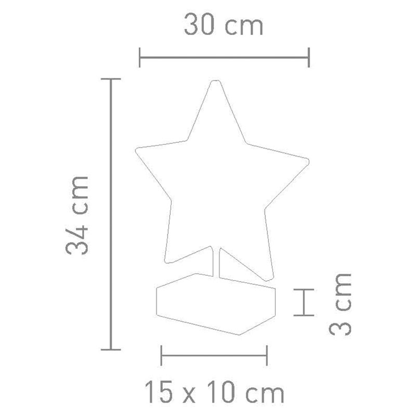 Pöytälamppu Stella tähtimuodossa, 34 cm, kulta
