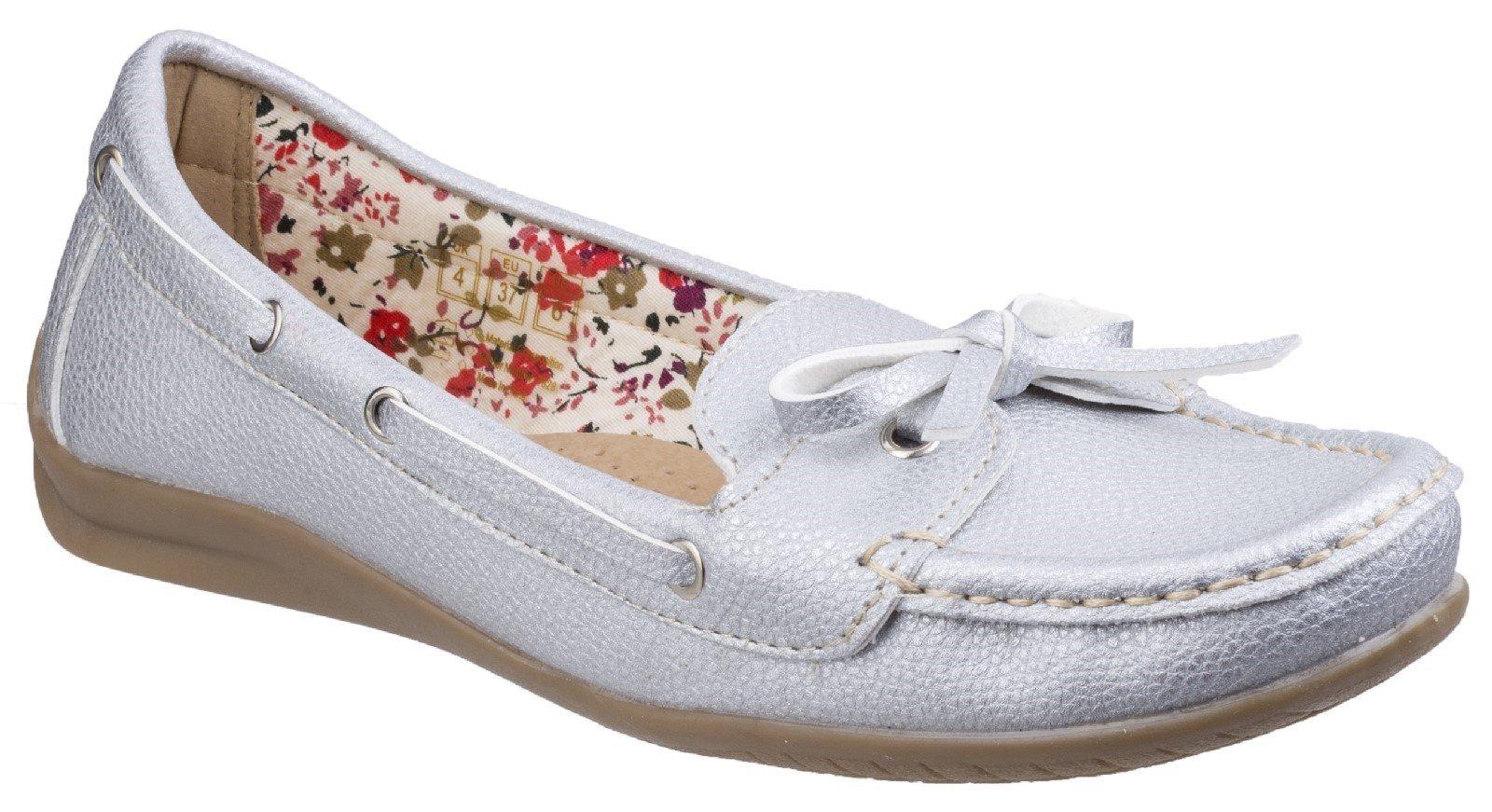 Fleet & Foster Women's Alicante Boat Shoe White 26304-43897 - Silver 3