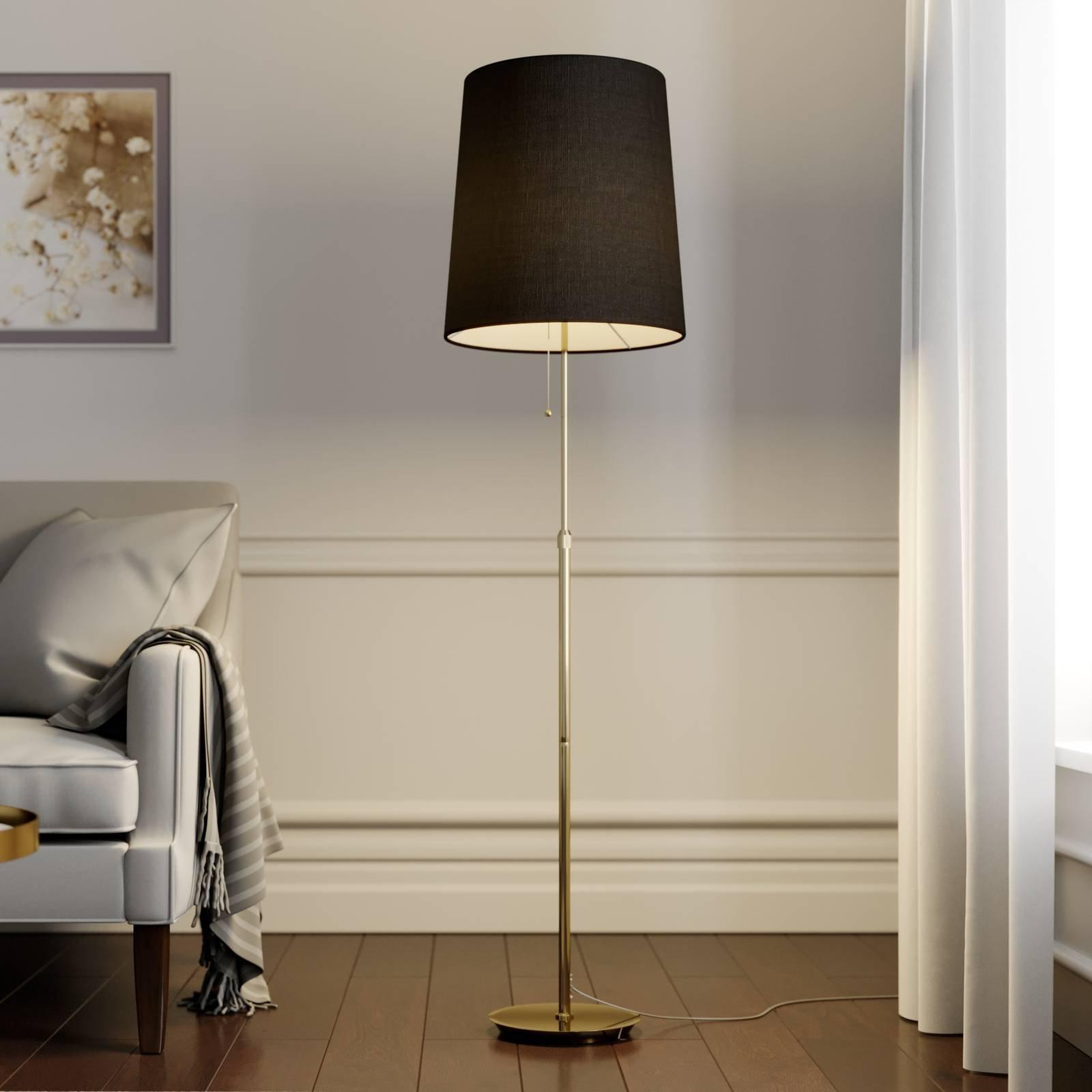 Lucande Pordis gulvlampe, 155 cm, messing-gull