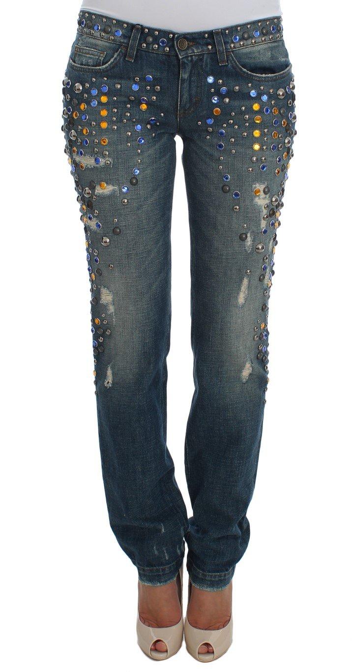 Dolce & Gabbana Women's Crystal Embellished GIRLY Slim Fit Jeans Blue SIG19332 - IT40|S