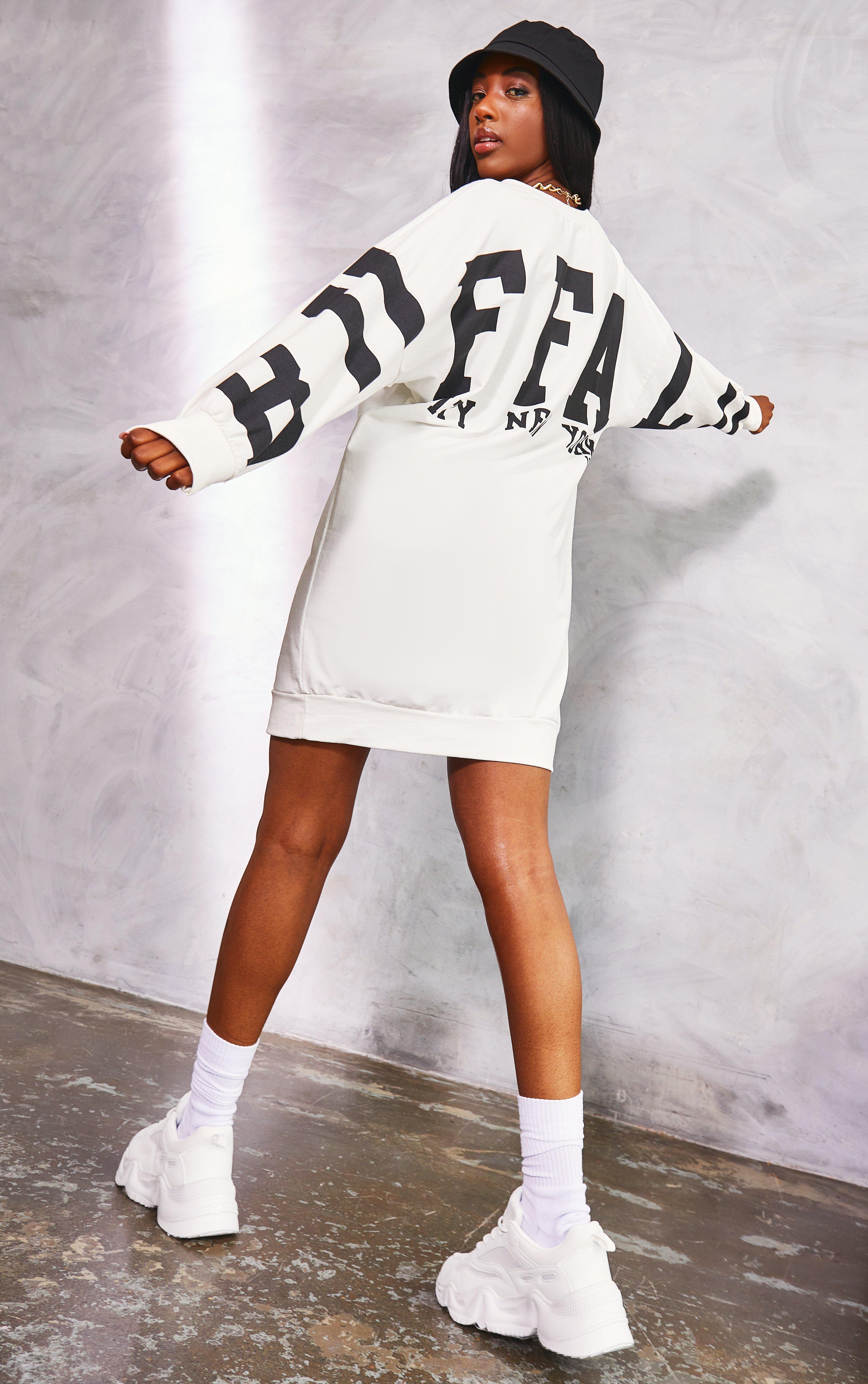Slogan Oversized Jumper Dress - White / 8