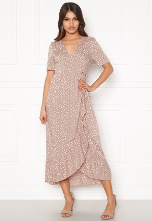 Happy Holly Evie wrap dress Dusty pink / Offwhite 36/38