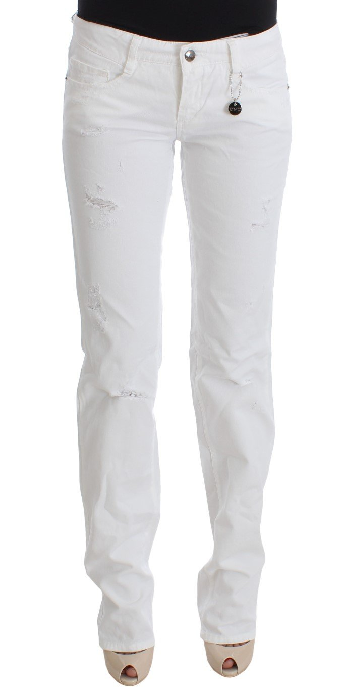 Costume National Women's Cotton Slim Fit Denim Bootcut Jeans White SIG30112 - W29