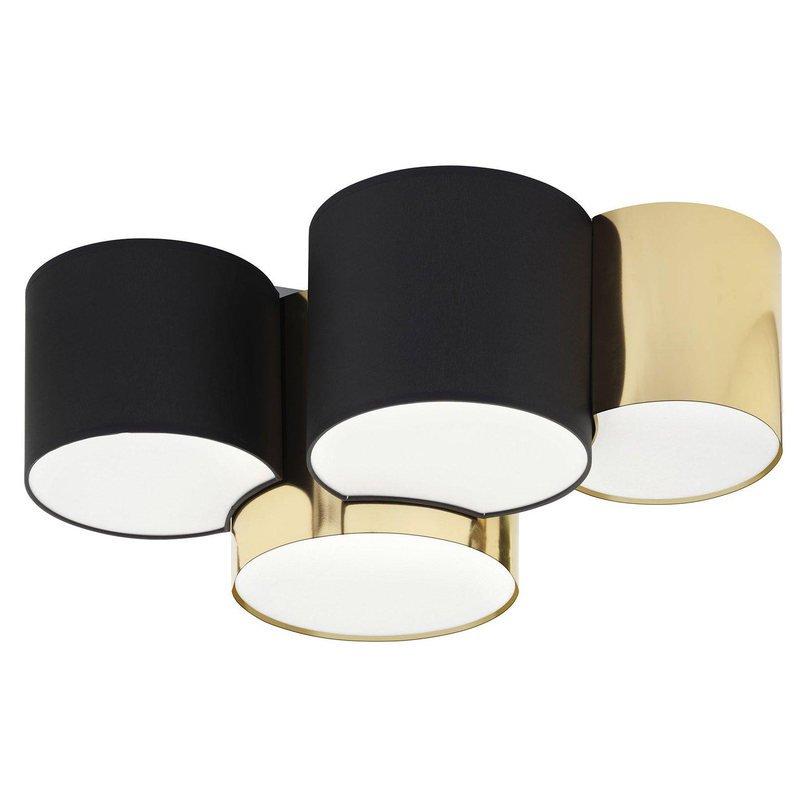 Taklampe Mona 4 lyskilder, svart/gull