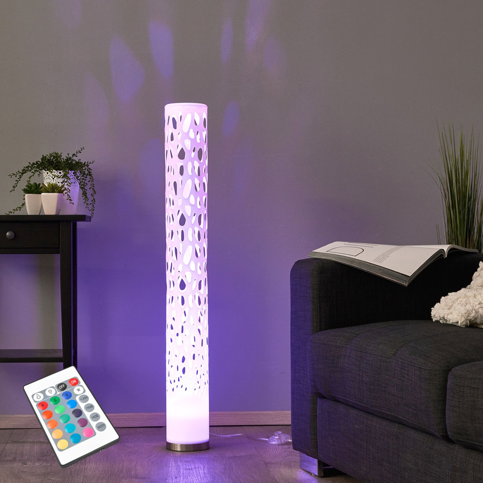 Dekorativ RGB LED-stålampe Alisea