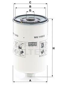 Polttoainesuodatin MANN-FILTER WK 1150/2