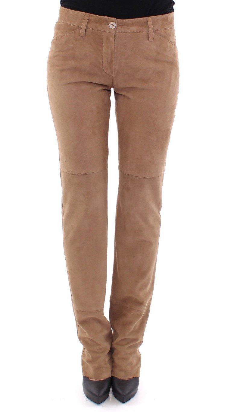 Dolce & Gabbana Women's Goatskin Suede Slim Fit Trouser Brown GSS13775 - IT40 S
