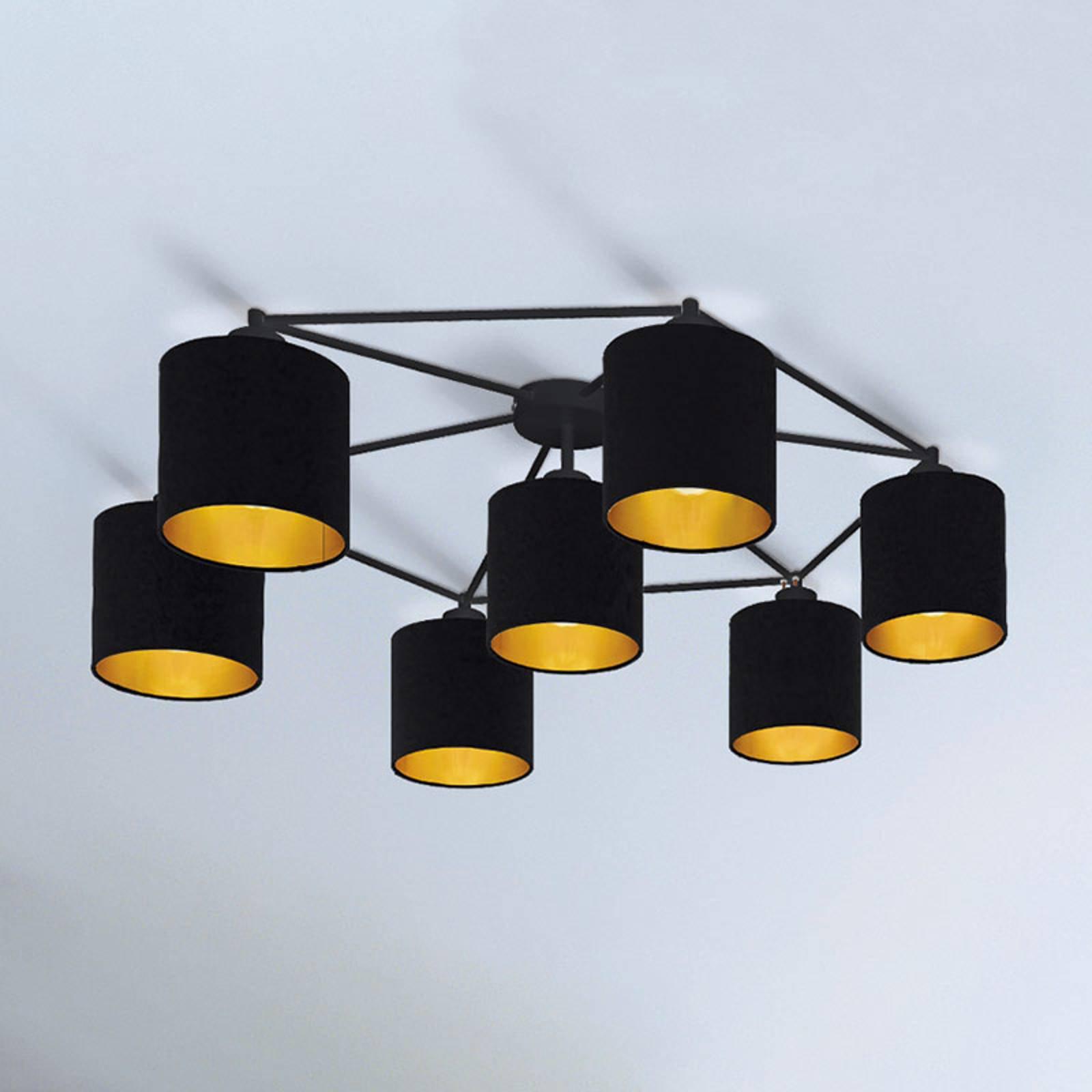 Taklampe Staiti, svart med skjermer