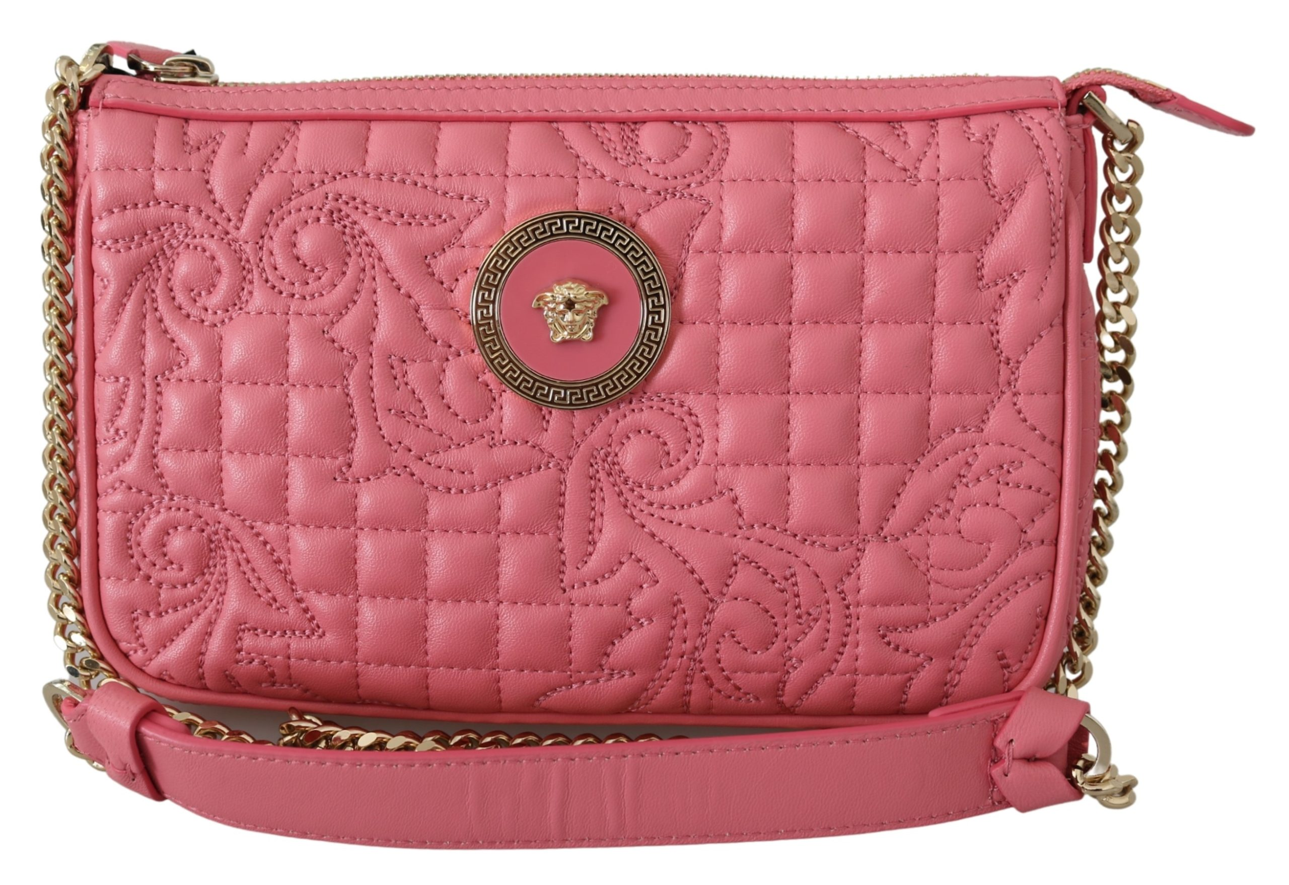 Versace Women's Quilted Nappa Leather Clutch Bag Pink 8053850414109